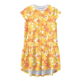 meisjes jurk bright white aop:flowers and leaves
