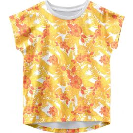 meisjes t-shirt bright white aop:flowers and leaves