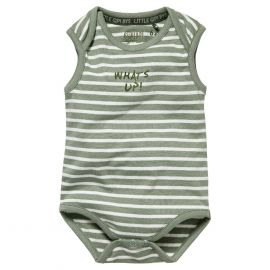 jongens romper dusty green stripe